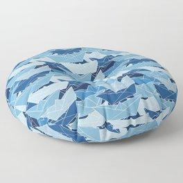 Paper Boat Pattern Ocean Floor Pillow