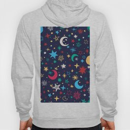 planets stars moon red yellow green navy blue pattern Hoody