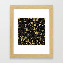 Black terrazzo and yellow Framed Art Print
