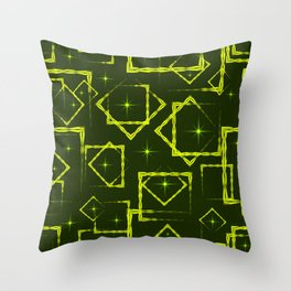 Yellow diamonds and squares at the intersection with the stars on a mustard background. Throw Pillow