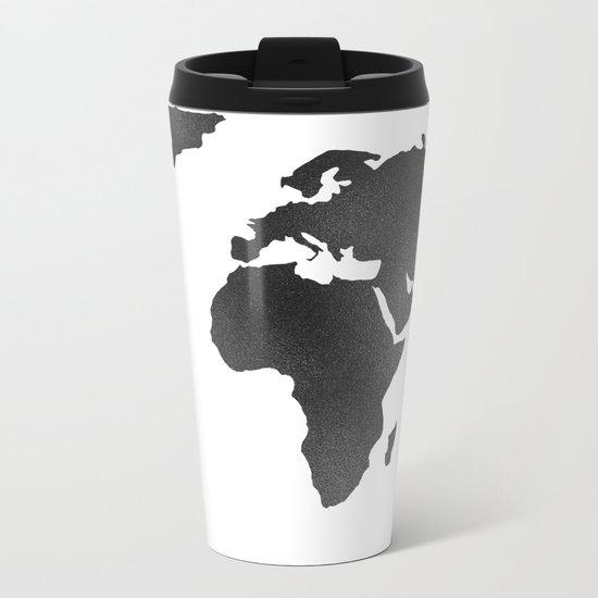 World Map in Textured Black Metal Travel Mug
