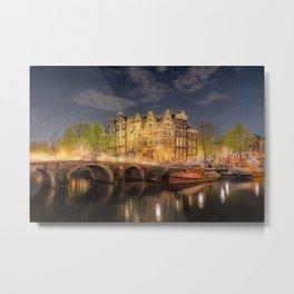 Night on the Amsterdam Waterways | painting Metal Print