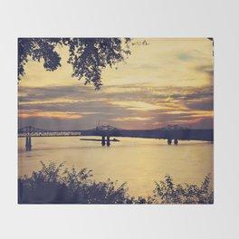 Golden Mississippi River Sunset Throw Blanket
