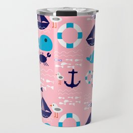 Summer boat pink Travel Mug