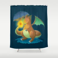 charizard Shower Curtains featuring Charizard by Jeanette Aga