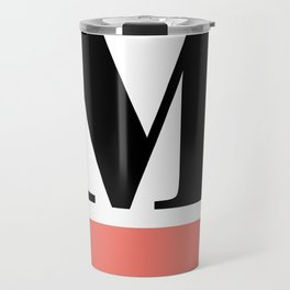 Monogram Letter M-Pantone-Peach Echo Travel Mug