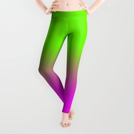 Neon Green and Hot Pink Ombré  Shade Color Fade Leggings