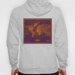 Vintage Map of The World (1833) Purple & Orange  Hoody