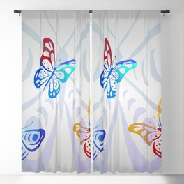 Big Butterflies with grey background Blackout Curtain