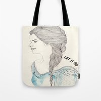frozen elsa Tote Bags featuring Elsa (Frozen) by Kaethe Butcher