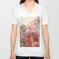 cleveland V-neck T-shirts featuring Cleveland by MapMapMaps.Watercolors