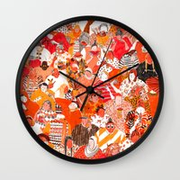 girls Wall Clocks featuring Girls by Mouni Feddag