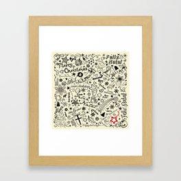 Merry Christmas Multiple languages Framed Art Print