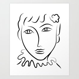 Abstract Face Sketch Art Print