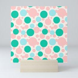 Green, blue and pink circles over beige Mini Art Print