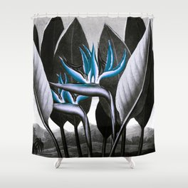 Birds of Paradise Temple of Flora Blue Gray Shower Curtain