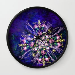 Abstract delicate silk flowers Wall Clock