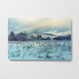 Snowy mountain landscape Metal Print