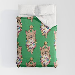 French Bulldog Merry Christmas Comforters