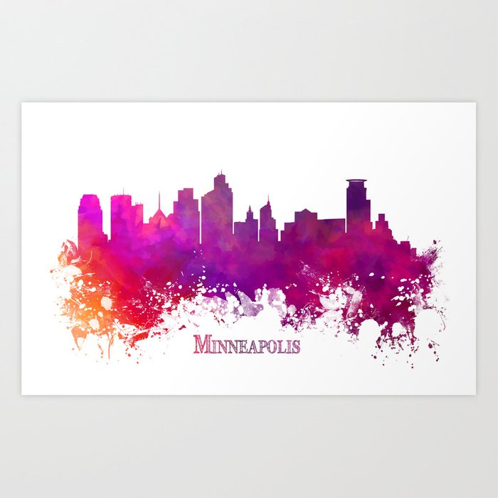 Minneapolis skyline purple Art Print