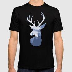 Deer Abstract Blue Landscape Design Black MEDIUM Mens Fitted Tee