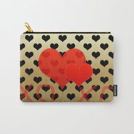 Two red hearts in tandem on black hearts pattern Carry-All Pouch