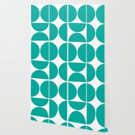 Mid Century Modern Turquoise Square Wallpaper