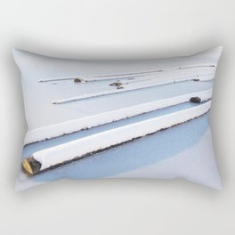 Snow frozen lake, snow covered logs, frozen, Lake, landscape Rectangular Pillow