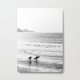 Surfers, Black and White, Beach Photography Metal Print