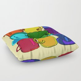 Tea Cups and Coffee Mugs Spectrum Floor Pillow