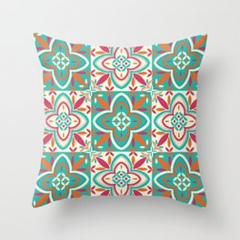 Peranakan Art Nouveau Tiles (Floral Star in Candied Colours) Throw Pillow