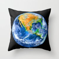 earth Throw Pillows featuring Earth by Marble Trouble