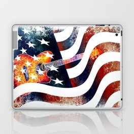 Country Music Guitar And American Flag By Annie Zeno  Laptop & iPad Skin