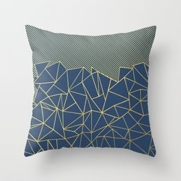 Ab Lines 45 Navy and Gold Throw Pillow