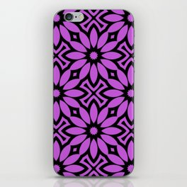 Purple/Black Flower Pattern iPhone Skin