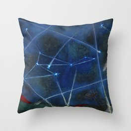 Heavenly Bodies, Stars, Constellations, & Milky Way landscape painting by Rufino Tamayo Throw Pillow