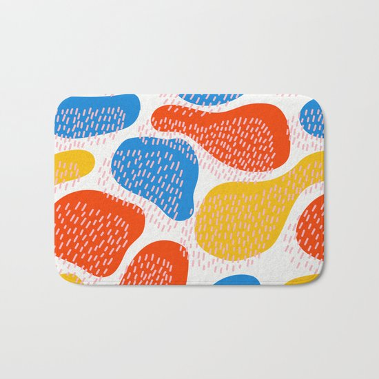 Abstract Orange, Blue and Yellow Memphis Inspired Pattern Bath Mat