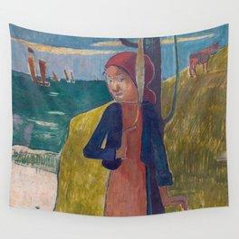 1889 - Gauguin - Breton girl spinning Wall Tapestry