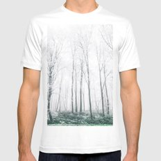 Winter Forest MEDIUM White Mens Fitted Tee