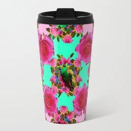 GREEN PEACOCK &  PINK ROSE GARDEN PINK PATTERN Travel Mug