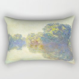 The Seine at Giverny Claude Monet 1897 Impressionist Oil Painting Nature Trees Lake Landscape Rectangular Pillow