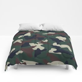 Green Brown woodland camo camouflage pattern Comforters