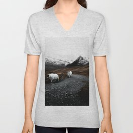 SHEEP - MOUNTAINS - SNOW - ROAD - PHOTOGRAPHY - FUNNY Unisex V-Neck