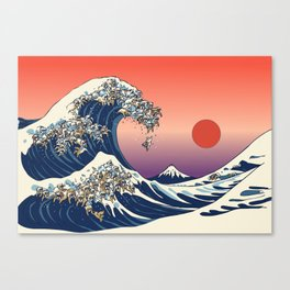 The Great Wave of English Bulldog Canvas Print