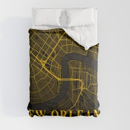 New Orleans Louisiana City Map | Gold American City Street Map | United States Cities Maps Comforters