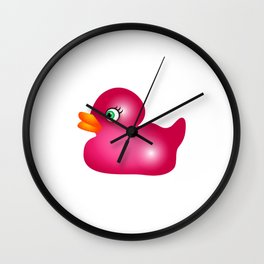 Pink Rubber Duck Toy Wall Clock