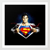 superman Art Prints featuring Superman by DavinciArt