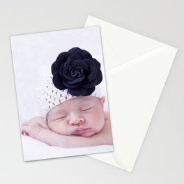 Baby with flower Stationery Cards
