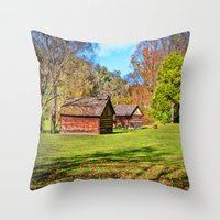 allyson johnson Throw Pillows featuring Johnson City Tennessee Cabins by Mary Timman