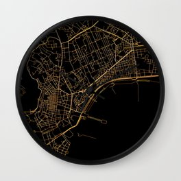 Black and gold Neapol map Wall Clock
